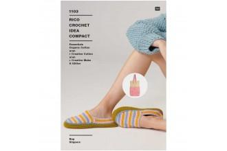 Rico Crochet Idea Compact 1103 (Leaflet) Bag and Slippers in Creative Cotton Aran, Creative Make It Glitter and Essentials Organic Cotton Aran
