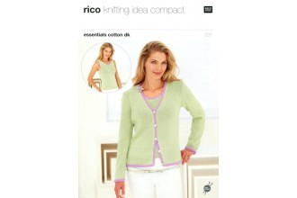 Rico Knitting Idea Compact 221 (Leaflet) Essentials Cotton DK Cardigan and Vest
