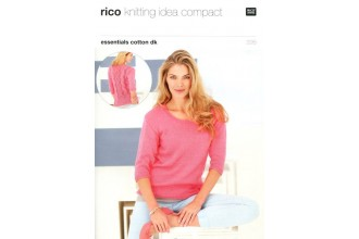 Rico Knitting Idea Compact 226 (Leaflet) Essentials Cotton DK Sweater with Lacy Back