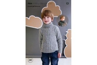 Rico Knitting Idea Compact 343  (Leaflet) Essentials Soft Merino Cable Jumper and Scarves (Aran)