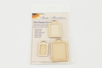 Siesta - Miniature Display Frames, Wooden Rectangles, 2.5 x3in, 2.5 x 2in, 2 x 1.5in (Pack of 3)