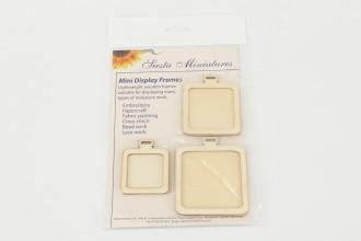 Siesta - Miniature Display Frames, Wooden Squares, 3in, 2.5in, 2in (Pack of 3)