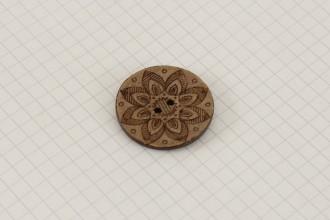 Scheepjes Round Coconut Lasered Star Button, 30mm
