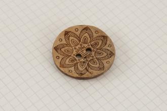 Scheepjes Round Coconut Lasered Star Button, 37mm