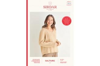 Sirdar 10173 Women's V-Neck Stripe Detailed Sweater in Saltaire Aran (leaflet)