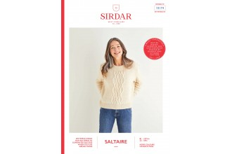 Sirdar 10174 Women's Centre Cable Crew-Neck Sweater in Saltaire Aran (leaflet)