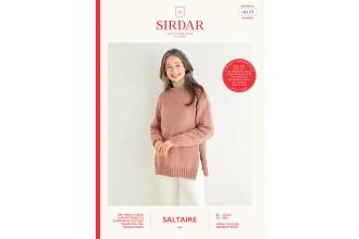 Sirdar 10177 Women's Split Seam Sweater in Saltaire Aran (leaflet)