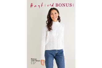 Sirdar 10221 Cabled Roll Neck Sweater in Hayfield Bonus Aran with Wool (leaflet)