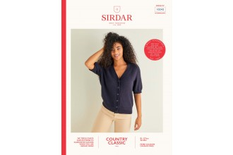 Sirdar 10242 V-Neck Short Sleeved Cardigan in Country Classic 4 Ply (leaflet)
