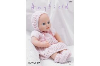 Sirdar 2482 Baby Dolls Dress, Bonnet, Bootees and Pants in Bonus DK (downloadable PDF)