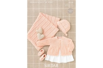 Sirdar 4508 Snuggly 4 Ply Coat Bonnet, Bootees and Blanket (leaflet)