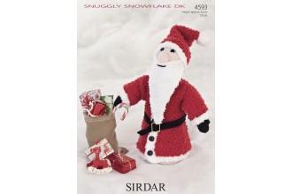 Sirdar 4593 Cone Shaped Santa in Snuggly Snowflake DK and Hayfield Bonus DK (leaflet)