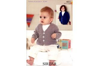 Sirdar 4657 Boy's V Neck Cardigans in Snuggly DK (leaflet)