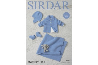 Sirdar 4686 Boys Jacket, Hat, Blanket and Bootees in Snuggly 4 Ply (leaflet)