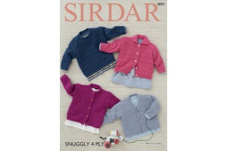 Sirdar 4809 Baby's Cardigans and Sweater in Snuggly 4 Ply (leaflet)