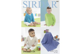 Sirdar 4880 Boy's Sweaters, Cardigan and Blanket in Snuggly DK (leaflet)