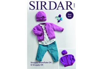 Sirdar 5160 Cardigan and Hat in Snuggly Snowflake DK and Snuggly DK (downloadable PDF)