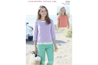 Sirdar 7034 Country Style DK Womens Sweater (downloadable PDF)