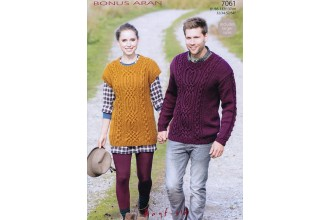 Sirdar 7061 Bonus Aran with Wool Sweater and Tunic (downloadable PDF)