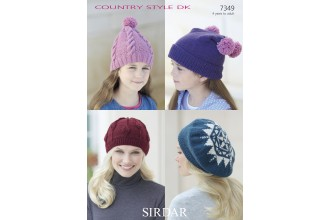 Sirdar 7349 Hats in Country Style DK (downloadable PDF)