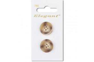 Sirdar Elegant Round 4 Hole Tortoiseshell Plastic Buttons, Beige/Brown, 19mm (pack of 2)