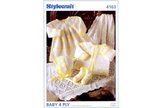 Stylecraft 4163 Baby 4 Ply (leaflet) Dress, Cardigan, Bonnet, Bootees and Shawl