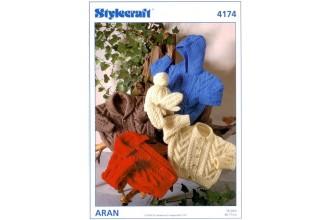 Stylecraft 4174 Aran (leaflet) Jacket, Cap and Mittens