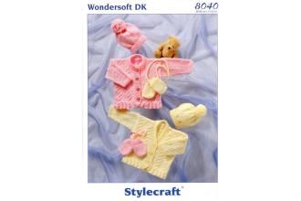 Stylecraft 8040 Wondersoft DK (leaflet) Cardigans, Hat and Mittens