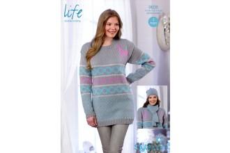 Stylecraft 9030 Life DK (leaflet) Womens Winter Fairisle Sweater. Hat & Scarf