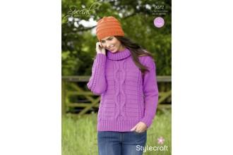 Stylecraft 9072 Special Aran Sweater & Hat (downloadable PDF)