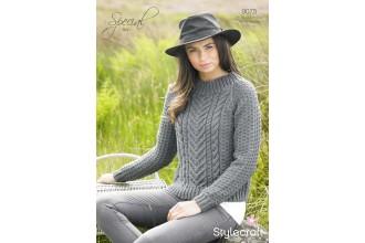 Stylecraft 9075 Special Aran Sweater (leaflet)