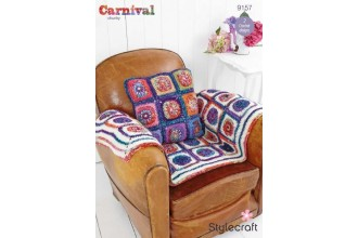 Stylecraft 9157 Carnival Chunky and Special Aran (downloadable PDF) Wheel in Square Throw and Cushion