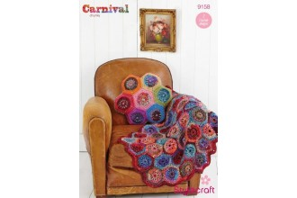 Stylecraft 9158 Carnival Chunky and Special Aran (leaflet) Hexagon Throw and Cushion