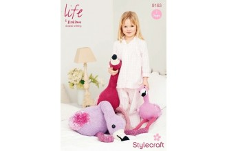 Stylecraft 9163 Life DK, Aran and Chunky & Eskimo (downloadable PDF) Flamingos