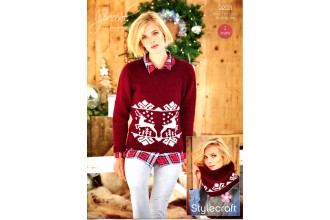 Stylecraft 9203 Ladies Christmas Jumper and Snood in Special DK (downloadable PDF)