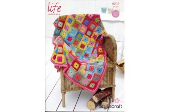 Stylecraft 9232 Square in Square Throw in Life DK (leaflet)