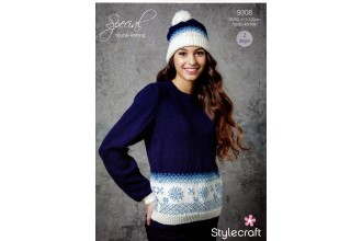 Stylecraft 9308 Ladies Christmas Jumper and Hat in Special DK (downloadable PDF)