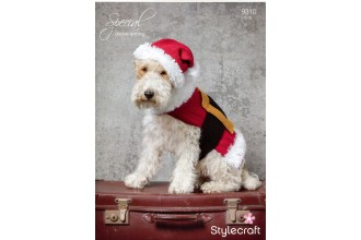 Stylecraft 9310 Santa Dog Coat and Hat in Special DK and Eskimo DK (downloadable PDF)