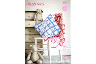 Stylecraft 9328 Blanket and Cushion in Wondersoft DK and Merry Go Round DK (downloadable PDF)