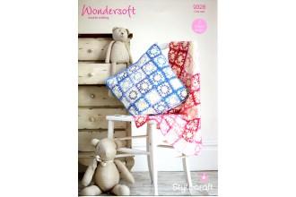 Stylecraft 9328 Blanket and Cushion in Wondersoft DK and Merry Go Round DK (leaflet)