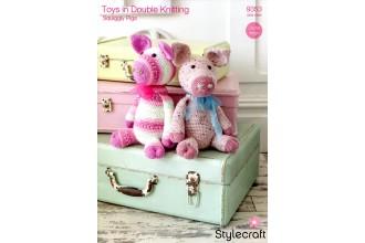Stylecraft 9353 Squiggly Pigs in Alpaca Tweed DK, Life DK and Wondersoft DK (downloadable PDF)