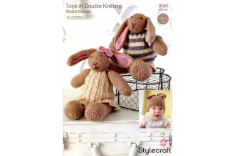Stylecraft 9355 Bunny Toys and Hat in Special DK and Batik DK (downloadable PDF)