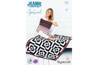 Stylecraft 9527 Hypno Blanket and Cushion in Jeanie Aran & Special Aran (downloadable PDF)