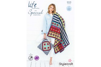 Stylecraft 9528 Boho Blanket and Cushion in Life DK & Special DK (downloadable PDF)