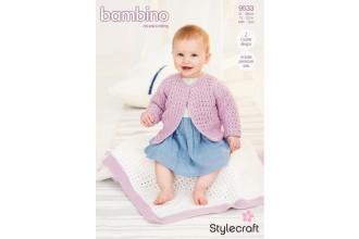 Stylecraft 9533 Crochet Cardigan & Blanket in Bambino DK (leaflet)