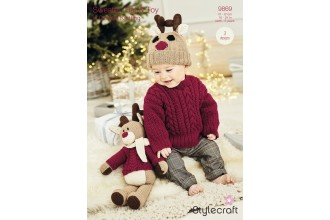 Stylecraft 9869 Rudolph the Reindeer Toy, Hat and Sweater in Special DK and Bellissima DK (downloadable PDF)