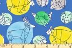 Blend Fabrics - Daydream - Origami Animals - Blue (2)