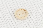 Round 'Handmade' Etched Dished Wooden Button, Natural, 25mm