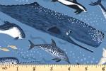 Clothworks - Oceans Away - Whale Friends - Dark Blue (Y2927-88)