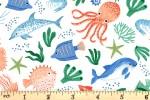 Clothworks - Oceans Away - Sea Life - White (Y2928-1)